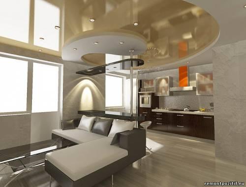 Кухня совмещённая с гостиной фото