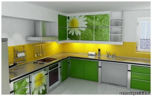 цветочные мотивы в интерьер кухни