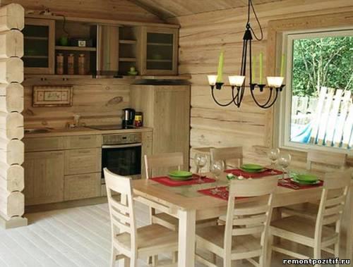 Кухня в деревянном доме фото.