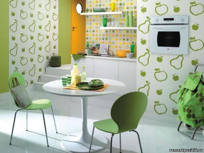 интерьер кухни с окрашенными стенами