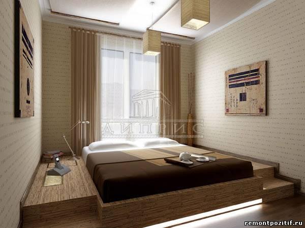 Тогда можно сделать кровать- подиум у окна, под ней разместить ящики для белья или книг, подиум получится во всю...