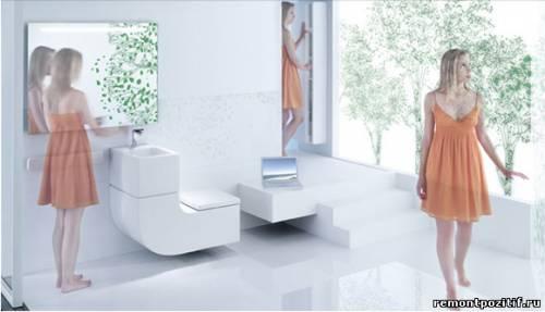 унитаз - умывальник в ванной комнате