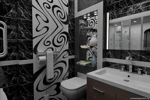 Панно из мозаики в интерьере ванной