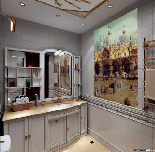 фреской дизайн на фото с стене