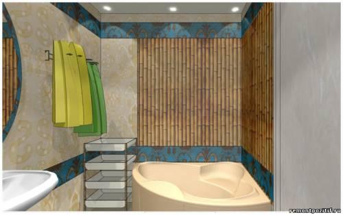 дизайн проект ванной комнаты с угловой ванной