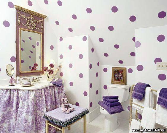 горошек в дизайне ванной комнаты