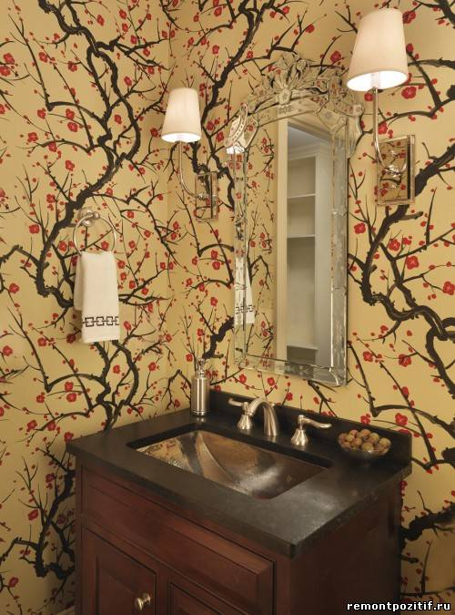 цветочные узоры в интерьер ванной