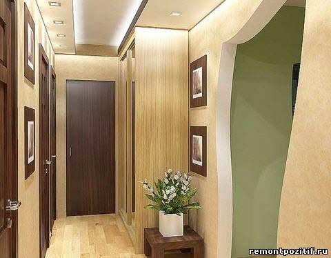 дизайн узкого коридора с аркой