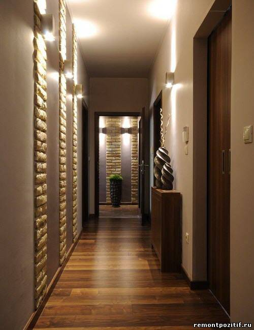 освещение узкого коридора в квартире
