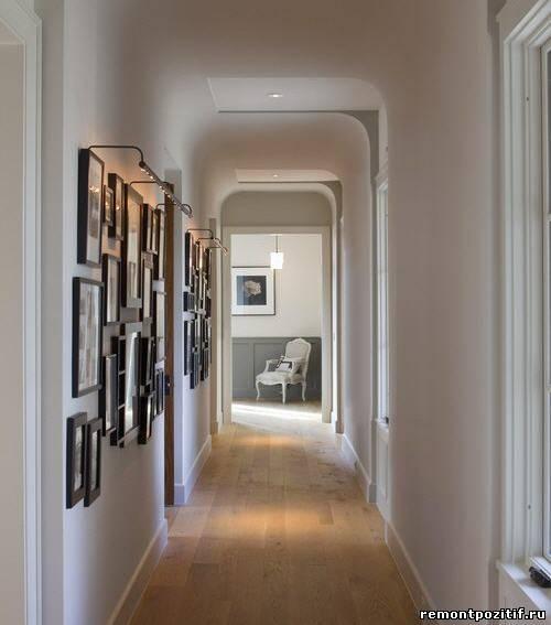 оформление потолка в узком коридоре