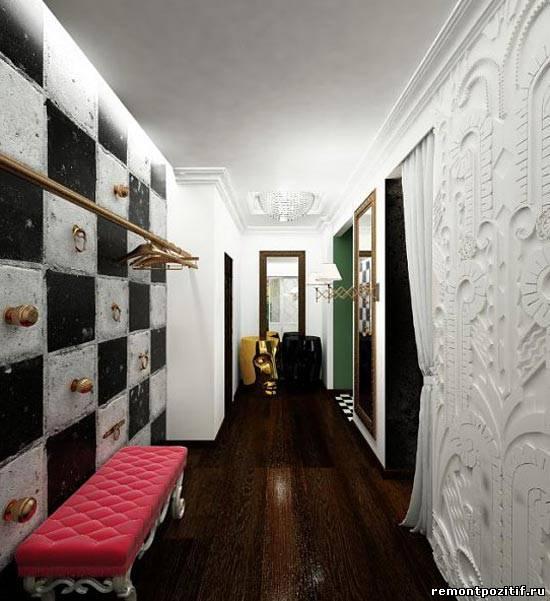 оригинальный дизайн узкого коридора в квартире