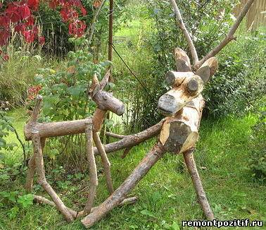 Животные из дерева для дачи своими руками