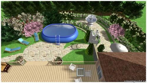 дачный участок с бассейном