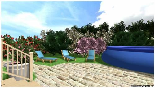 дизайн дачного участка с надувным бассейном