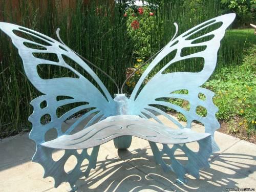 металлическая садовая скамейка