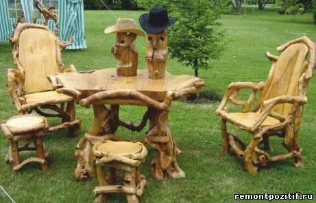 оригинальная мебель из старых деревьев