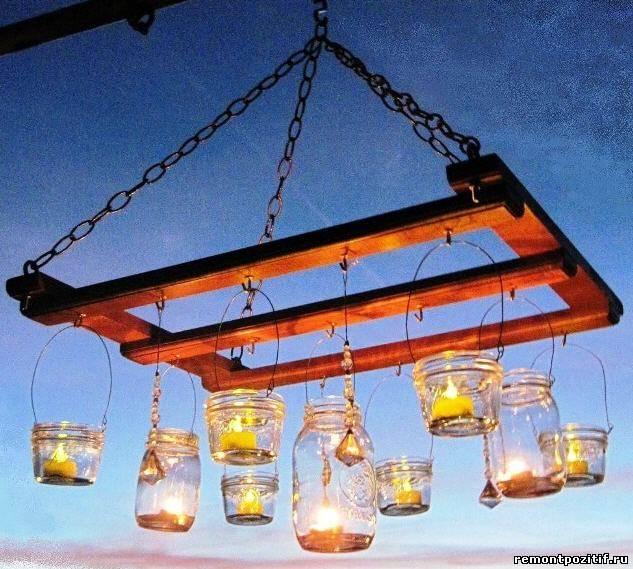 садовая люстра со свечами