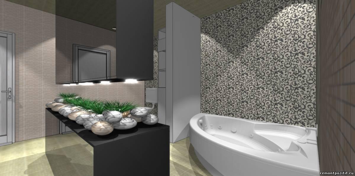 интерьер ванной в загородном доме