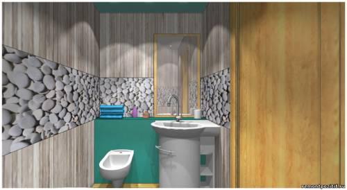 дизайн ванной с панелями мураль