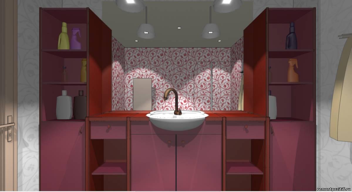 интерьер ванной в красном цвете