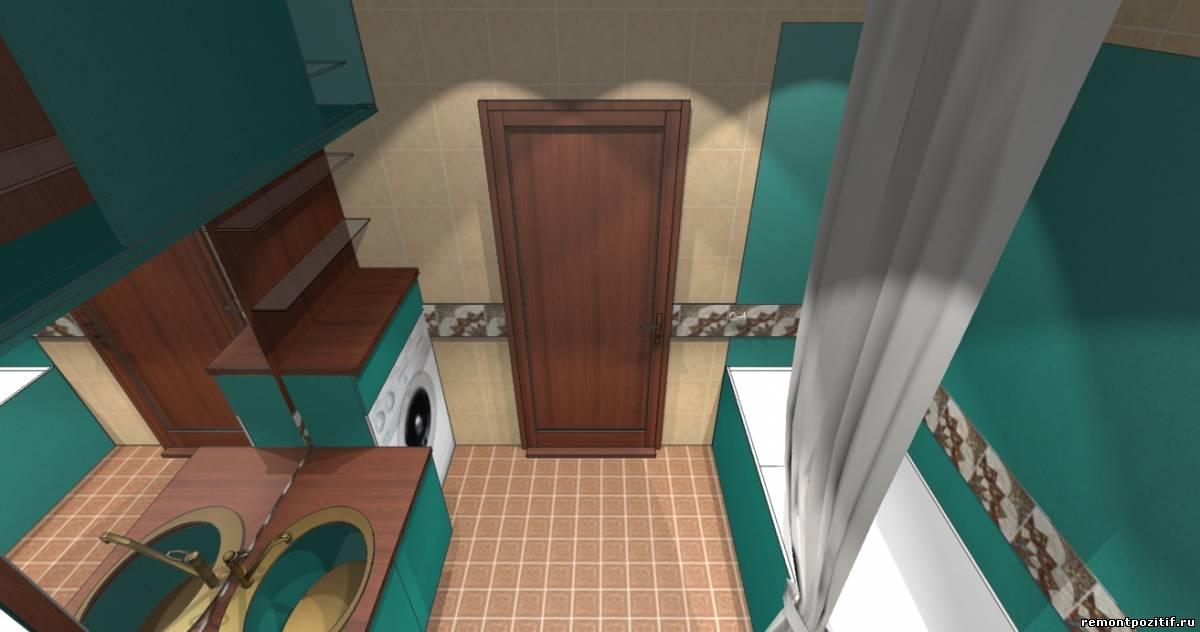 интерьер ванной в бирюзовом цвете