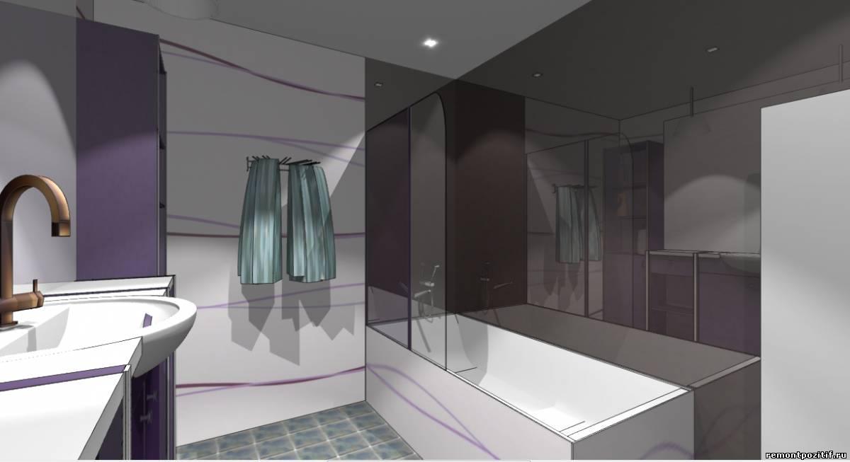 дизайн ванной в фиолетовом цвете