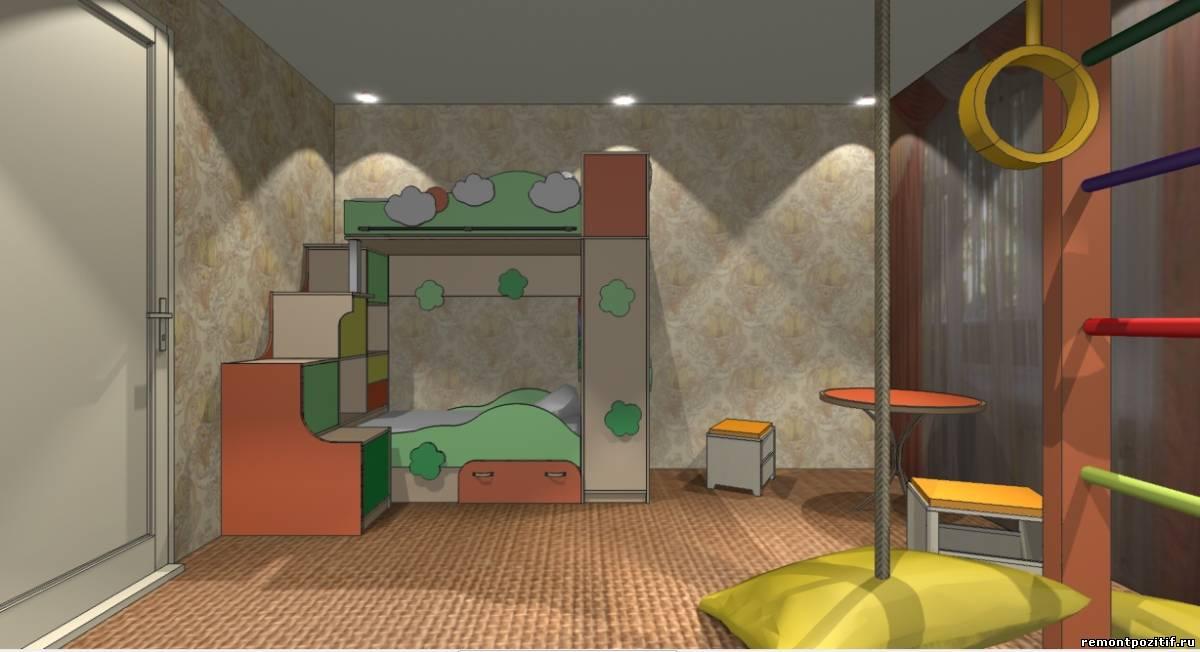 дизайн детской для мальчика и девочки в оранжевом цвете