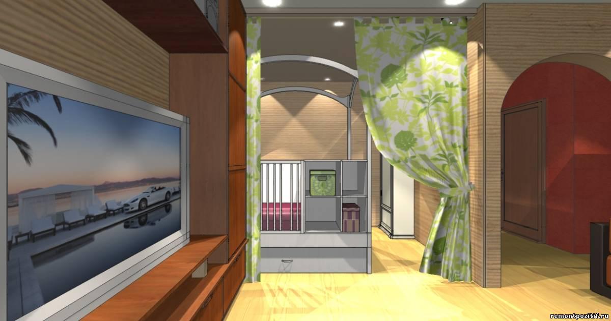 интерьер комнаты для семьи с ребенком в однокомнатной квартире