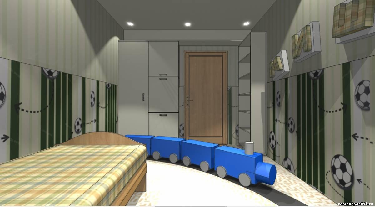 дизайн детской комнаты для мальчика в зеленом цвете