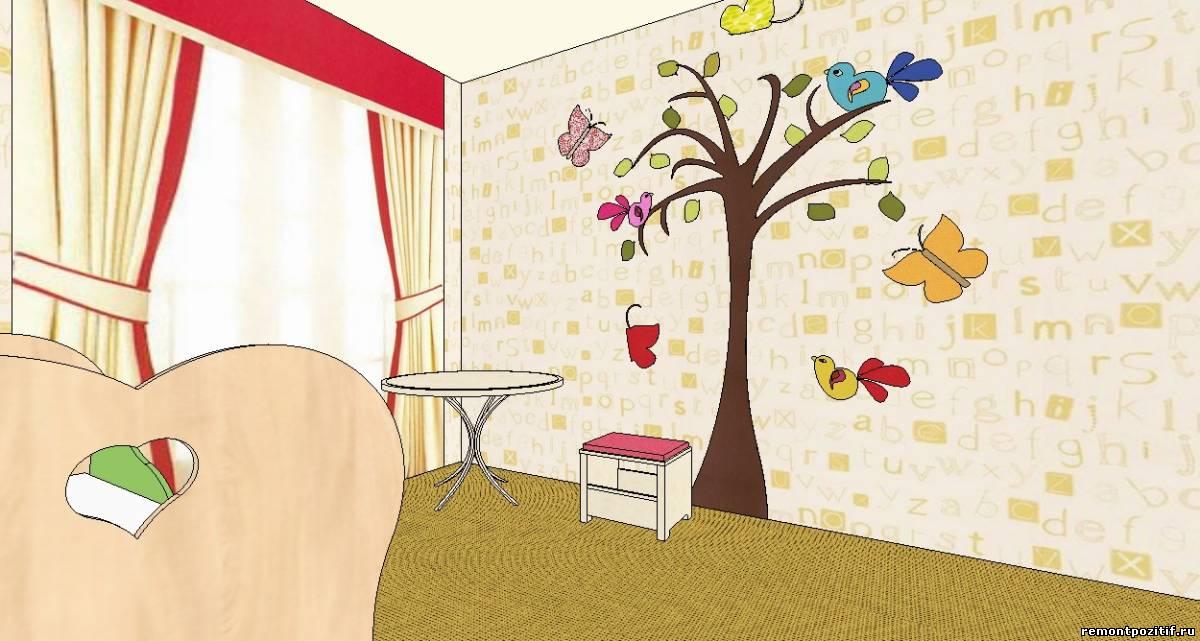 дизайн детской для девочки в желтом цвете