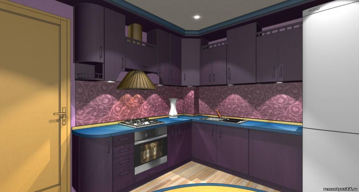 интерьер фиолетовой кухни