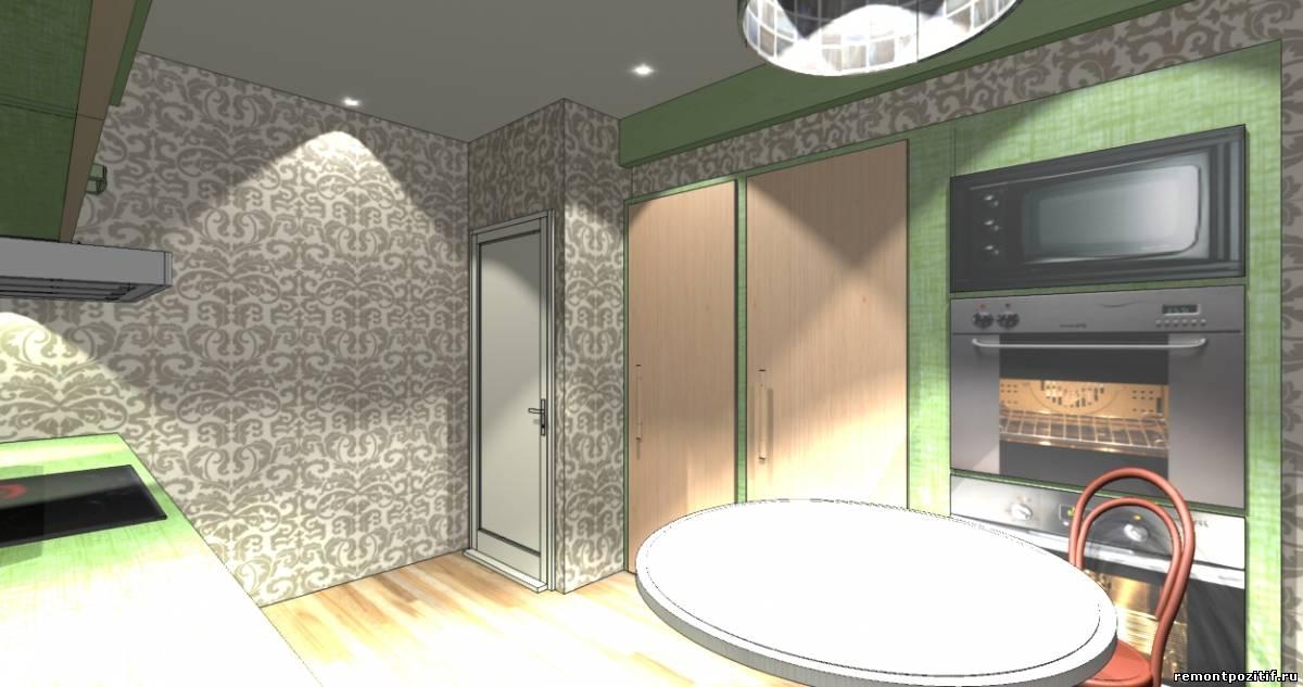 интерьер узкой вытянутой кухни