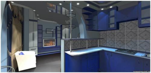 дизайн кухни объединённой с гостиной