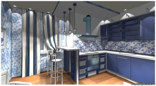 дизайн проект кухни в стиле гжель