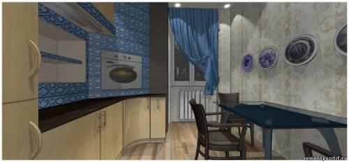 кухня в стиле гжель