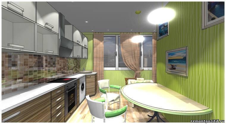 дизайн кухни 9 кв м с лоджией