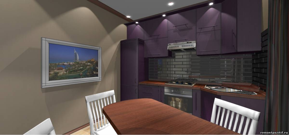 интерьер кухни с телевизором