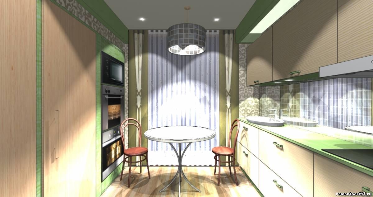 дизайн вытянутой узкой кухни