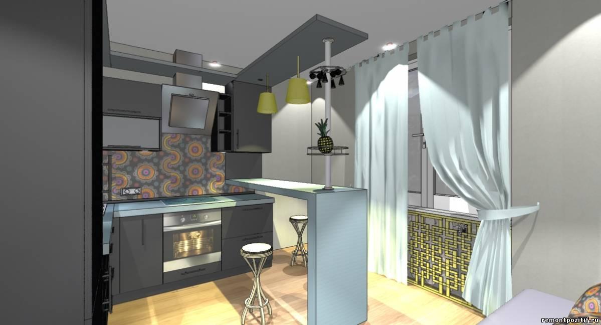 интерьер кухни в черном цвете