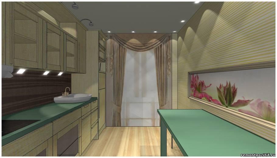 Дизайн кухни узкой прямоугольной формы.