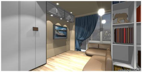 интерьер гостиной и спальни