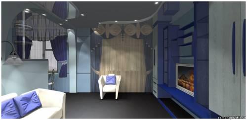 Интерьер объединённой гостиной и кухни