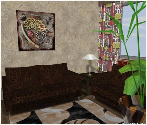 гостиная комната в африканском стиле фото
