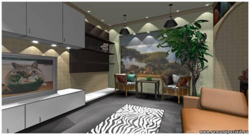 Дизайн гостиной комнаты в кенийском стиле