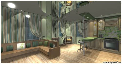 дизайн гостиной и кухни на первом этаже дома