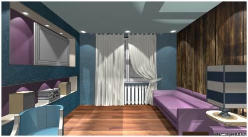 дизайн гостиной в синем цвете