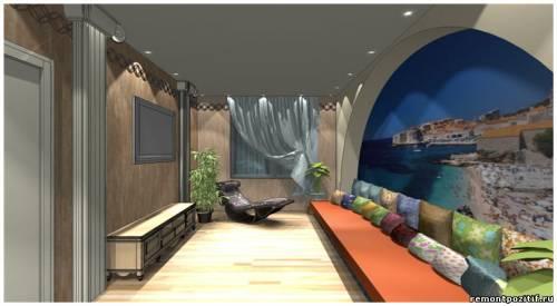 дизайн проект гостиной в стиле Кипра