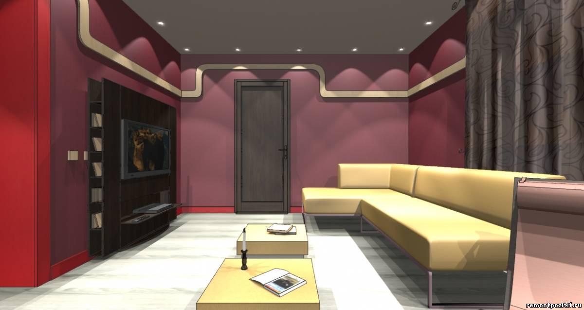интерьер красной гостиной