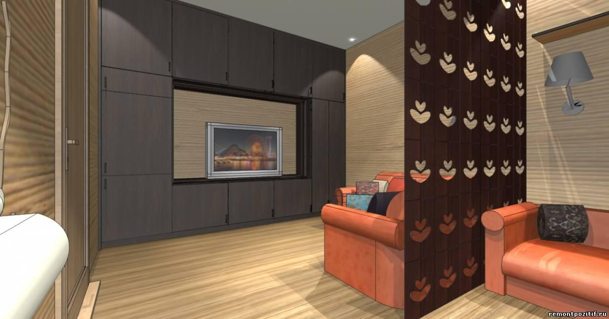интерьер гостиной с местом для подростка