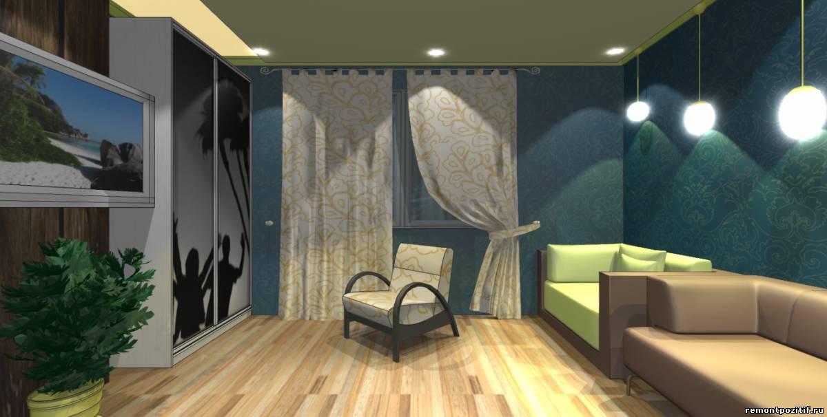 дизайн удобной гостиной со шкафами